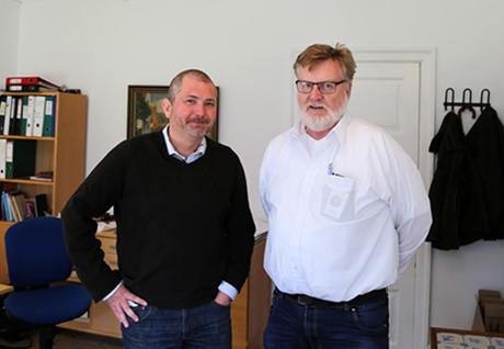 """Museichefen på Amager Museum Sören Mentz och Limhamns Museiförening Robert Wahlström träffades i Dragör och diskuterade samarbetsprojekt. Med på mötet var också Mikael Fallenius, projektledare för """"På Limhamn/Kul 3.0"""""""