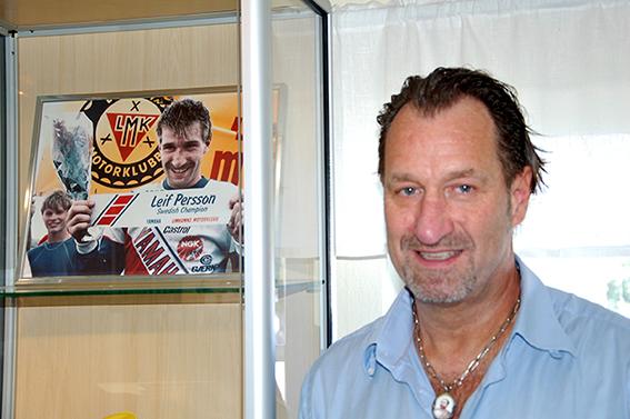 Leif Persson, Limhamns MK:s mest framgångsrika förare. Här vid sidan om affischen på sig själv.